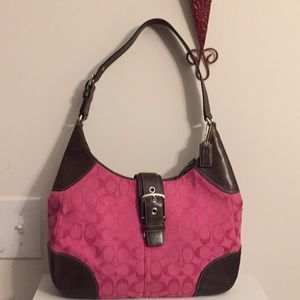 "GUC Coach bag pink and brown 13"" x 10"" x3"""